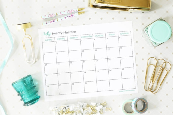 Free Printable July 2019 Horizontal Calendar with a Sunday Start
