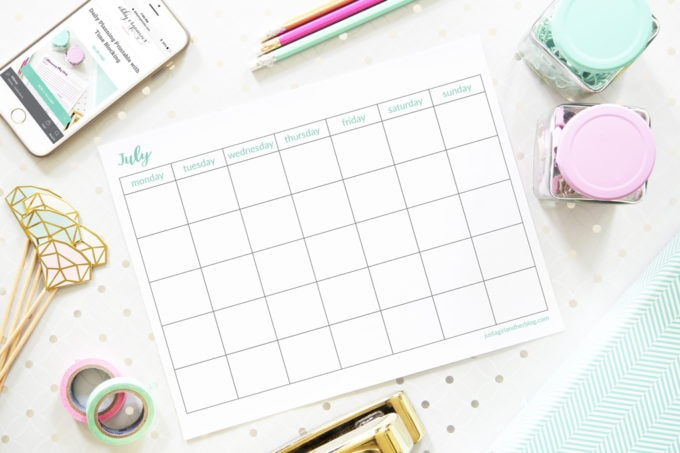 Free Printable July Calendar, Blank, Horizontal, Monday Start