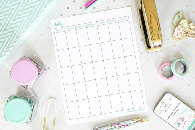 Free Printable Undated July Calendar, Vertical, Monday Start