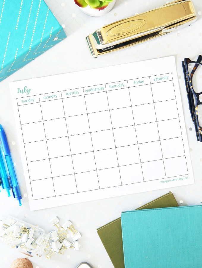 Free Printable July Calendar Pages