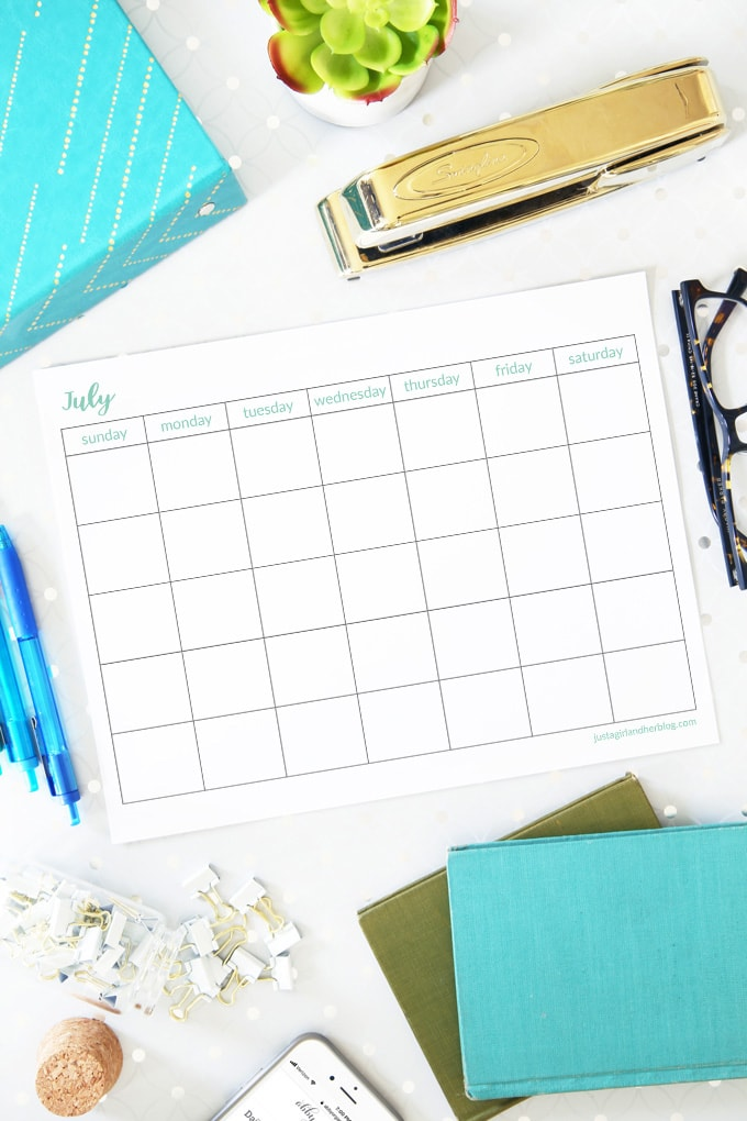 July 2019 Calendar | Pretty (and Free!) July Printable Calendar