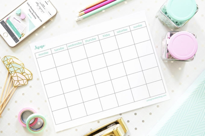 Free Printable Undated June Calendar, Blank Calendar, Horizontal, Monday Start