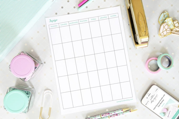 Free Printable June Calendar, Undated, Vertical, Monday Start, Blank June Calendar