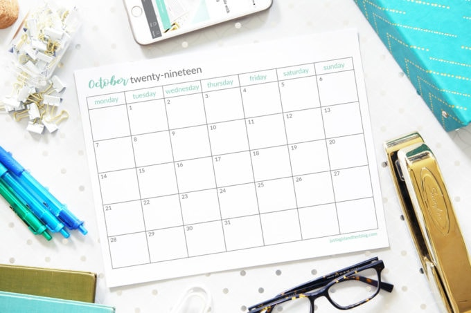 Free Printable October 2019 Calendar, Horizontal, Monday Start
