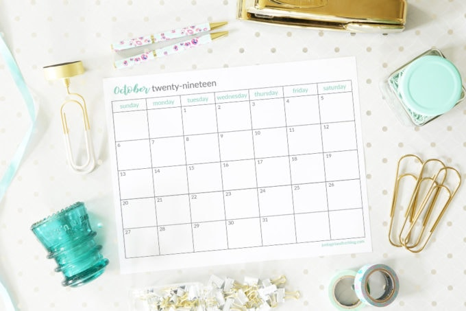 Free Printable October 2019 Calendar, Horizontal, Sunday Start