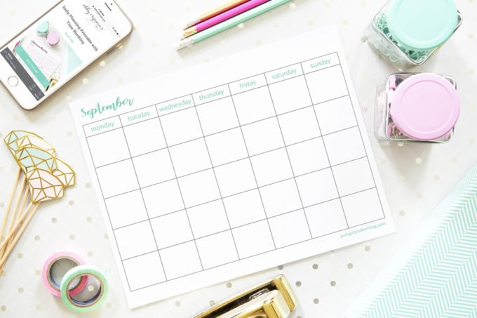 Undated September Calendar, Free Printable, Blank Calendar, Horizontal, Monday Start