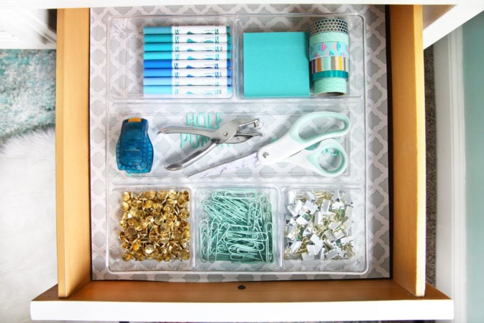 Organized Office Supplies in a Desk Drawer