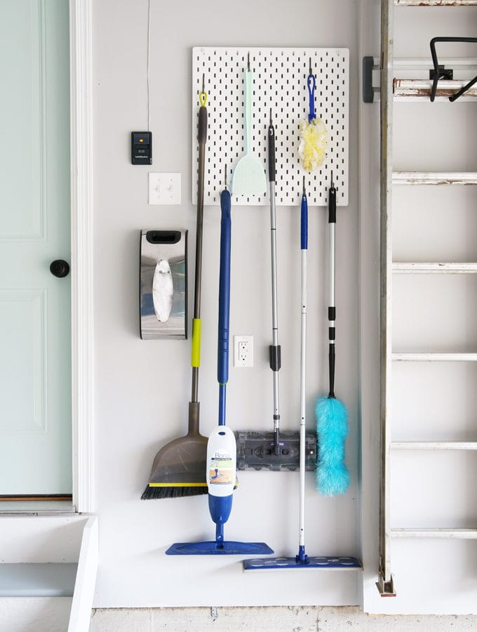 Hanging Brooms and Mops in an Organized Garage