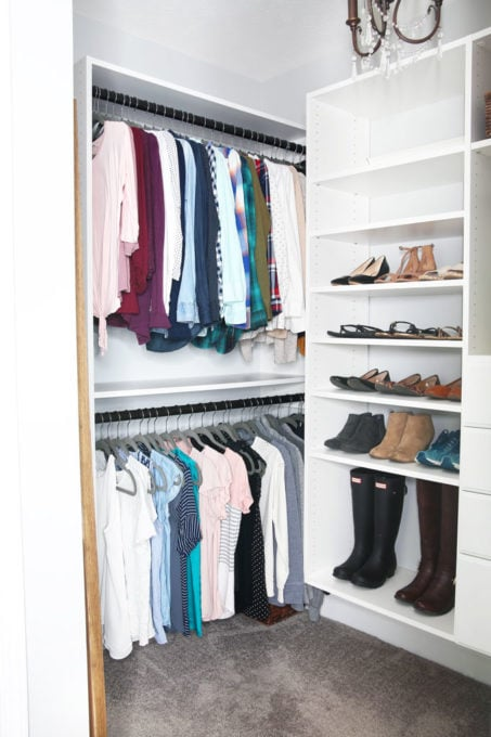 Organized Closet After Using Marie Kondo's KonMari Method