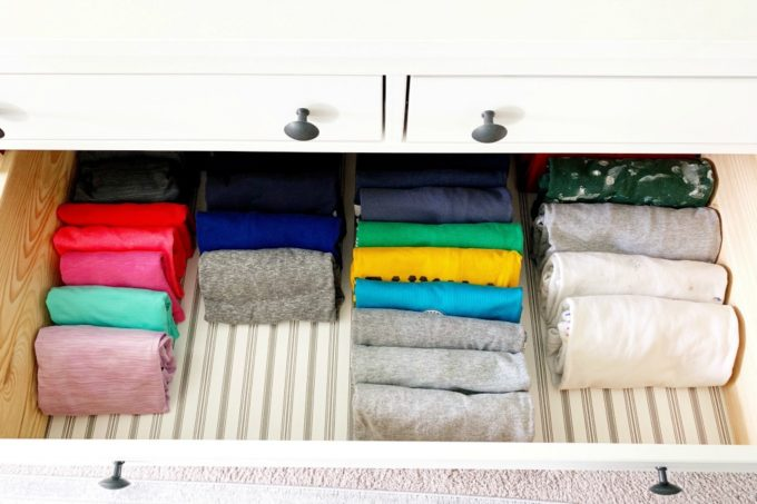 Clothes File Folded in a Drawer Using the KonMari Method