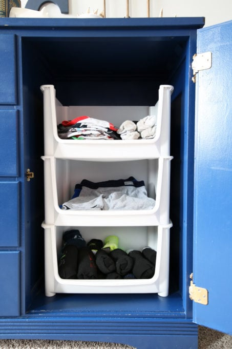 Socks and Underwear Stored in a Dresser