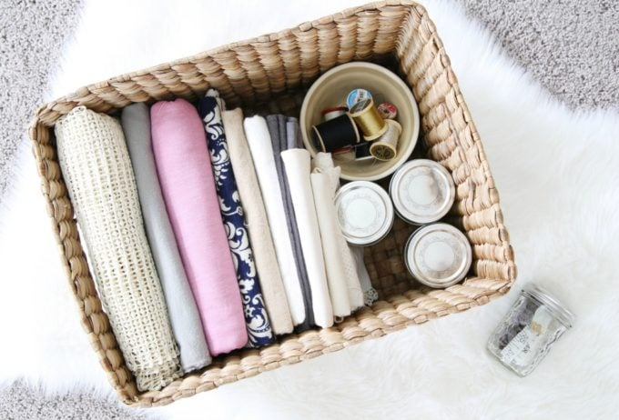 Fabric and Sewing Supplies Organized in a Basket