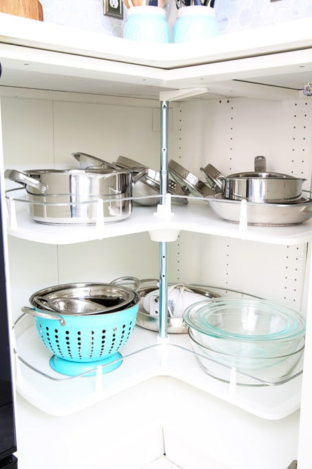 Pots and Pans Organized in a Kitchen Lazy Susan