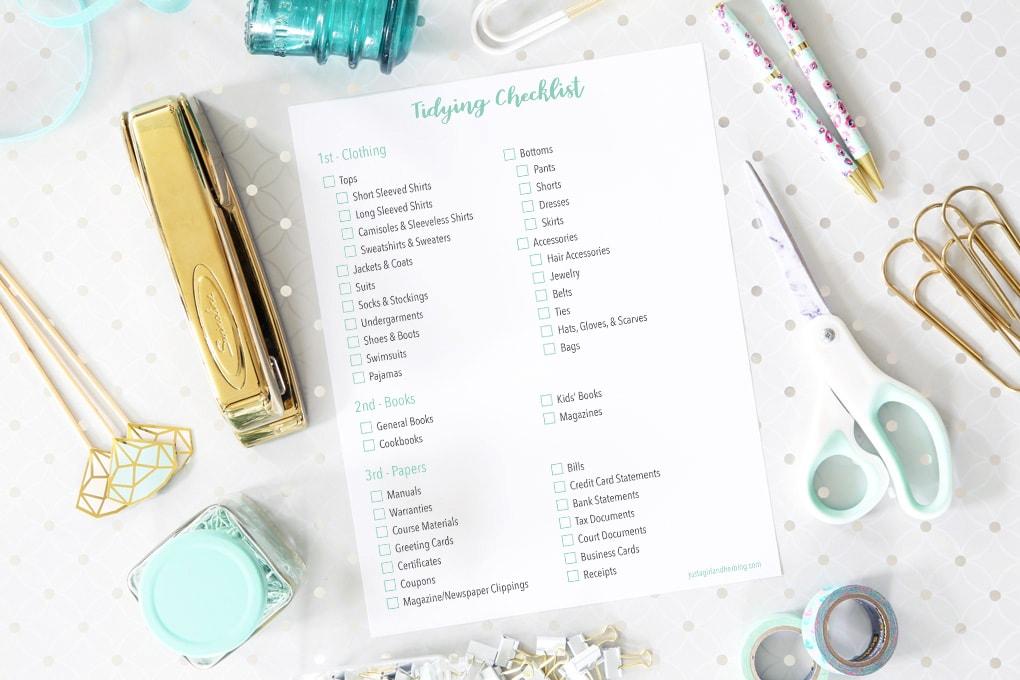 Free Printable Tidying Checklist for Marie Kondo's KonMari Method