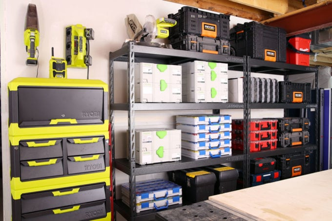 Organized Tools and Hardware in a Basement Workshop