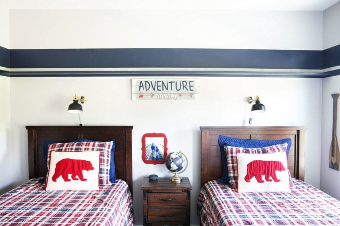 Bare DIY Shelf Hanging in Shared Boys' Bedroom