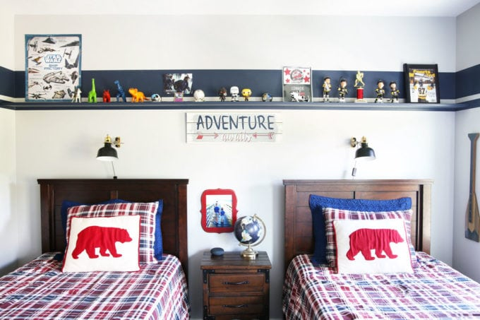 Wall-to-Wall Shelf in a Shared Boys' Bedroom