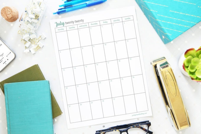Printable Calendar for July 2020, Portrait Orientation, Monday Start