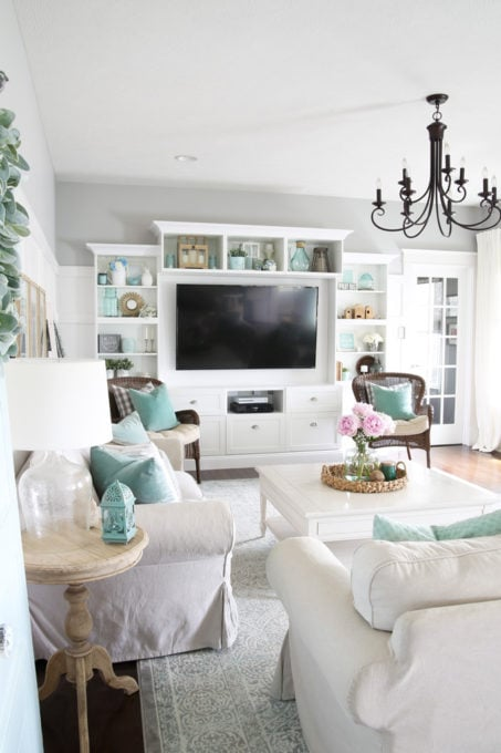 Neutral and Aqua Living Room with IKEA BESTA Entertainment Unit