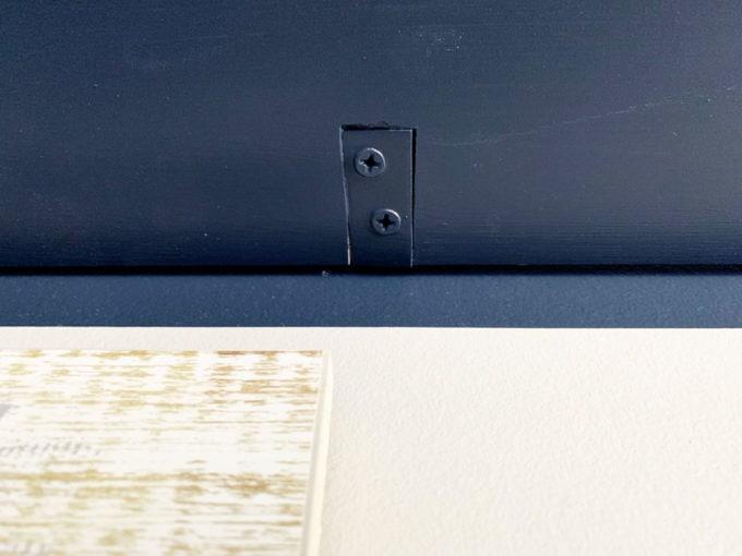 Notch in Board and L Bracket Sitting Flush with DIY Shelf