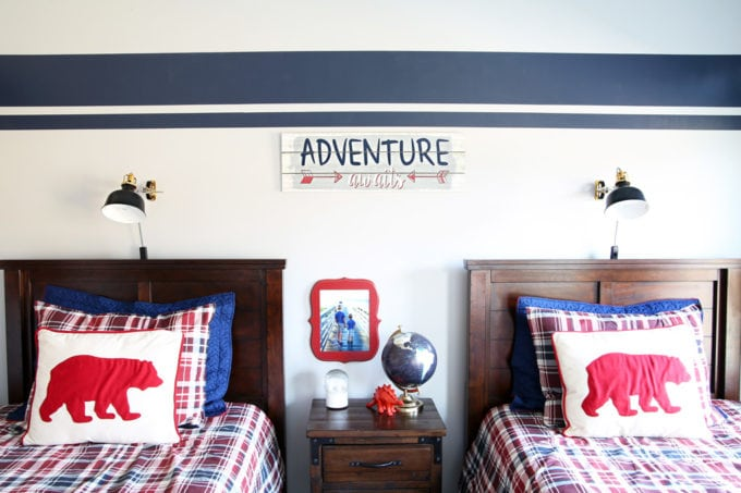 Shared Boys' Bedroom with Stripe Painted Benjamin Moore Hale Navy