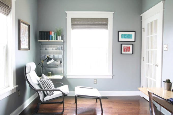 Home Office Painted in Behr Chain Reaction