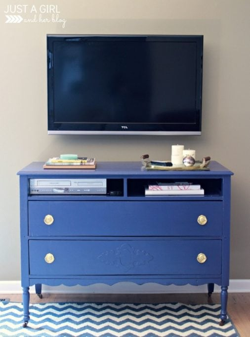 Dresser Turned into a TV Stand and Painted Blue