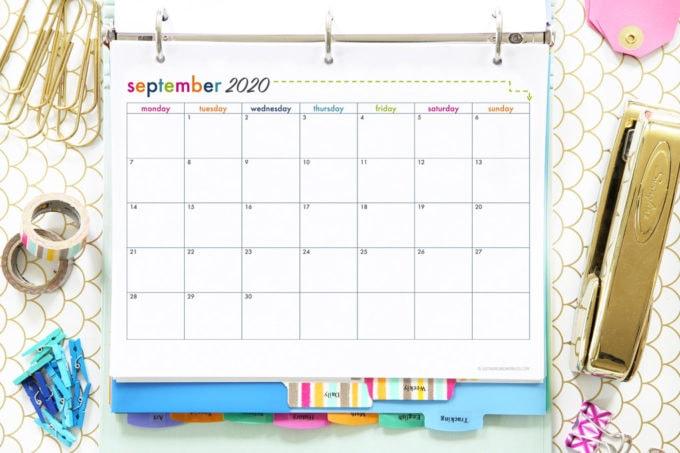 September 2020 Calendar for the School Year