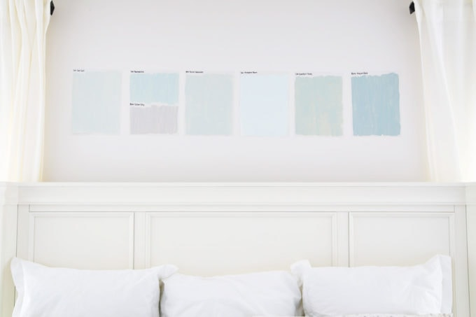 Paint Samples Lined Up in a Bedroom
