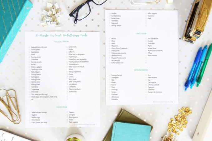 Free Printable Decluttering Tasks Checklist