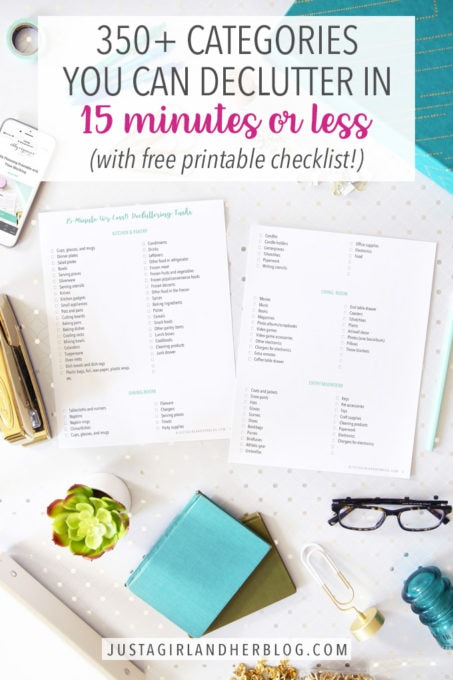 Free Printable Checklist with 350 Categories that You Can Declutter in 15 Minutes or Less