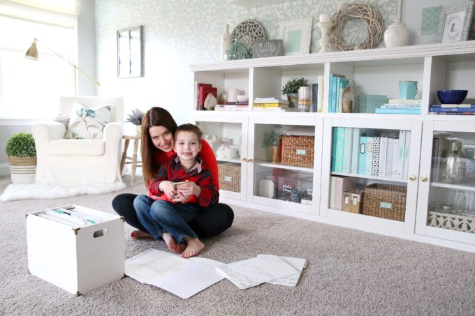Mother and Son Decluttering in Home Office