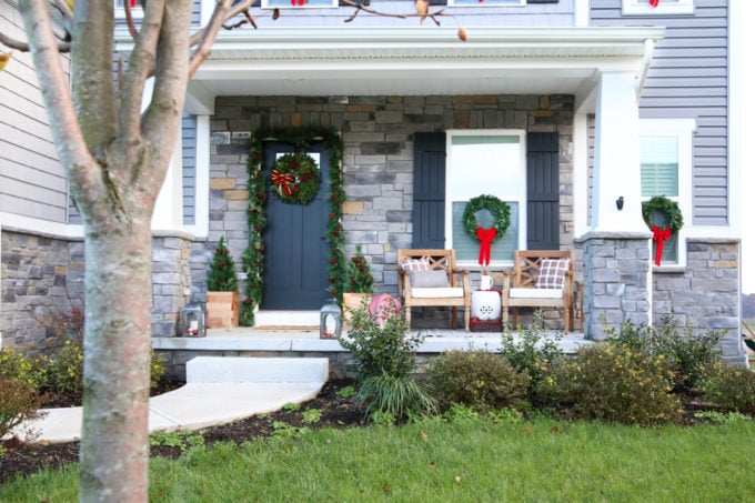 Christmas Porch Decor on a Ryan Homes Palermo, Elevation L