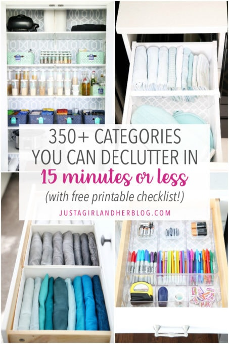 350 Categories You Can Declutter in 15 Minutes or Less with Free Printable Checklist