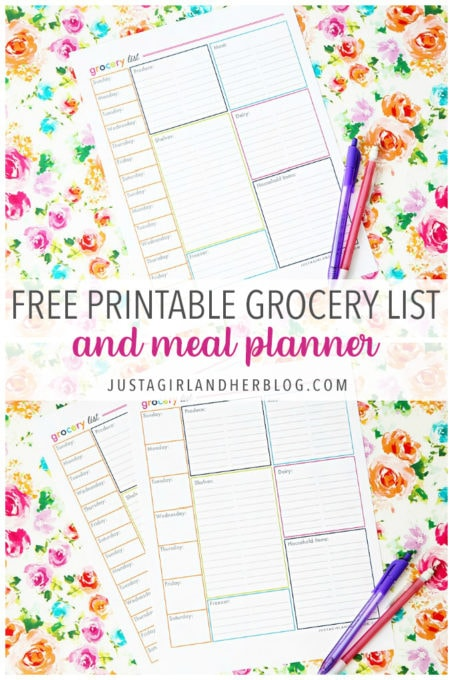 Shopping List and Meal Planner Free Printables