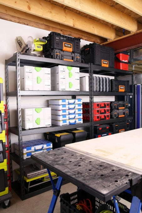 Organized Toolboxes in a Basement Workshop