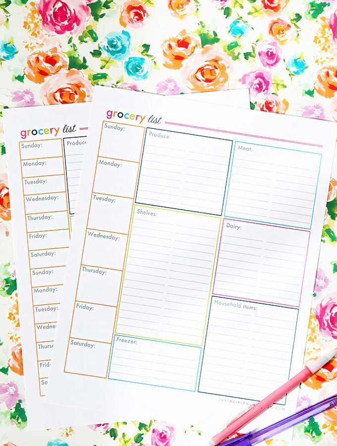 Free Printable Shopping List with One Wee and Two Week Options