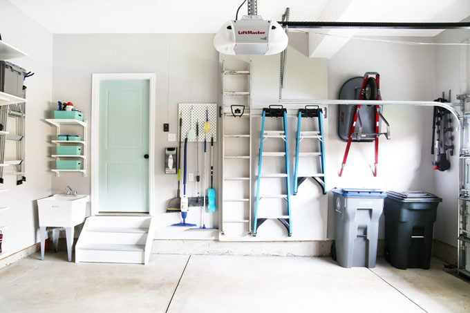 Garage Storage Ideas for Cleaning Supplies, Ladders, and Trash Cans