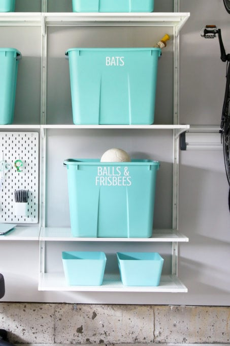 Storage Bins in an Organized Garage