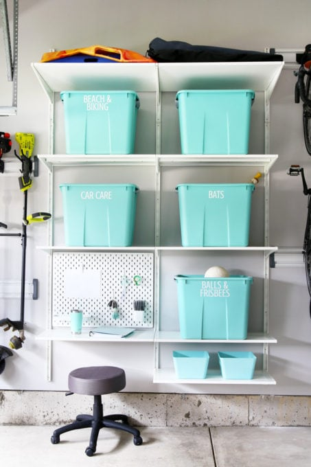 IKEA ALGOT Shelving System and Aqua Storage Bins in an Organized Garage with Brilliant Storage Ideas