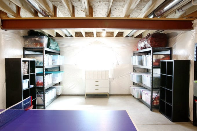 Holiday Decor Organized in a Basement Storage Nook