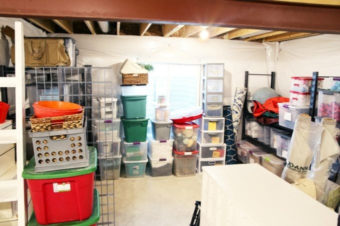 Messy Storage Nook in an Unorganized Basement