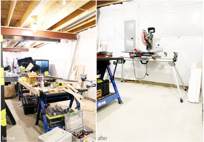 Basement Workshop Before and After Photo