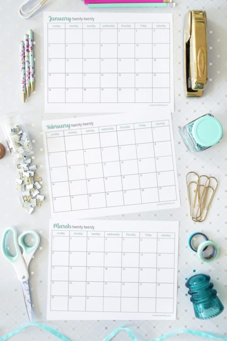 Blank Calendars for 2020, Free Printables