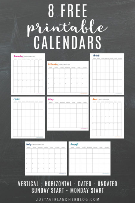 8 Free Printable Monthly Calendars