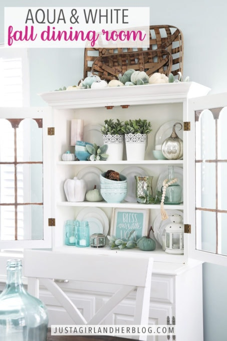 Aqua and White Fall Dining Room