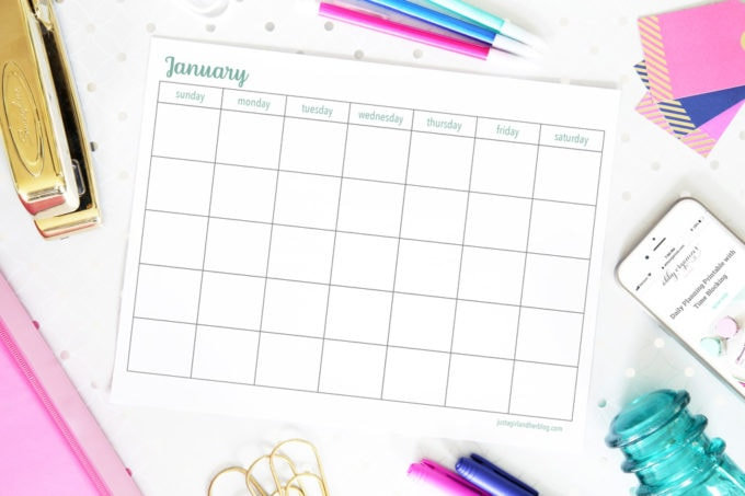 Blank Calendar Horizontal Sunday Start