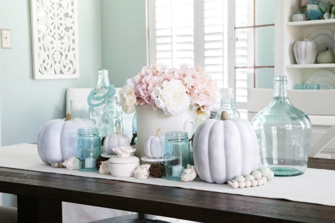Aqua and White Fall Centerpiece in the Dining Room