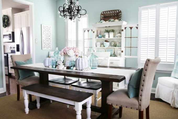 Fall Dining Room Decor in Aqua and White