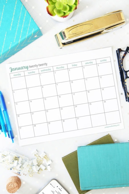 Horizontal Monday Start 2020 Monthly Calendars